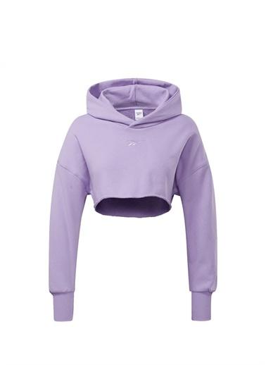 Reebok Reebok 101660588 Kapüşonlu Uzun Kollu Logo Nakışlı Kadın Crop Sweatshirt Mor